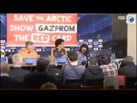 Greenpeace unfurl Gazprom banner at Real Madrid press conference