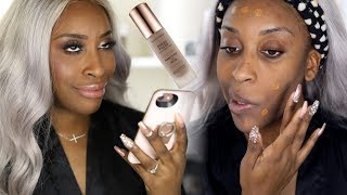 Matching Your Foundation With Your iPHONE?! Fresh Faced Liquid Foundation Demo | Jackie Aina