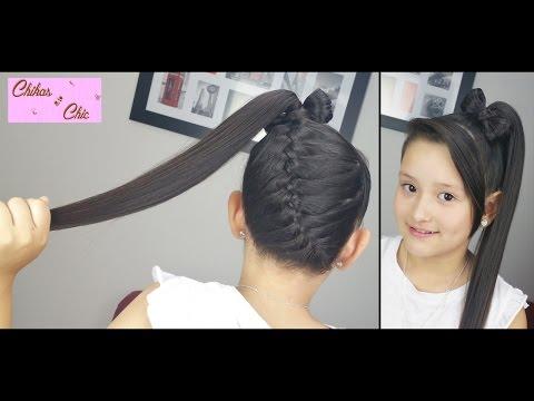 Trenza Diagonal terminada en Lazo Alto! - Diagonal Braid into Ponytail Bow! | Chikas Chic