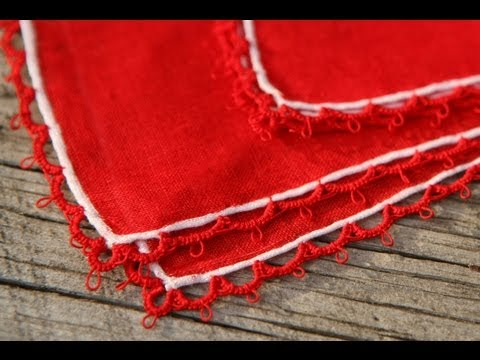Tatting - Attaching Tatted Edging: Needle tatting chains (Ch.) directly onto fabric by RustiKate