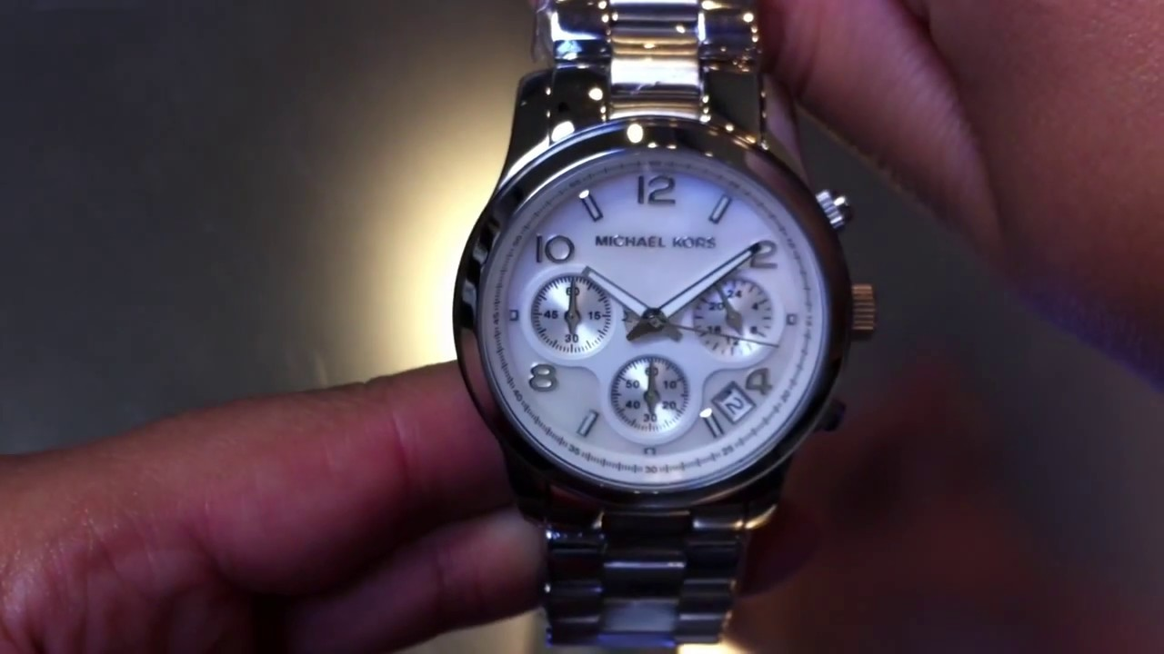 women 39 s michael kors chronograph mop watch mk5304 youtube. Black Bedroom Furniture Sets. Home Design Ideas
