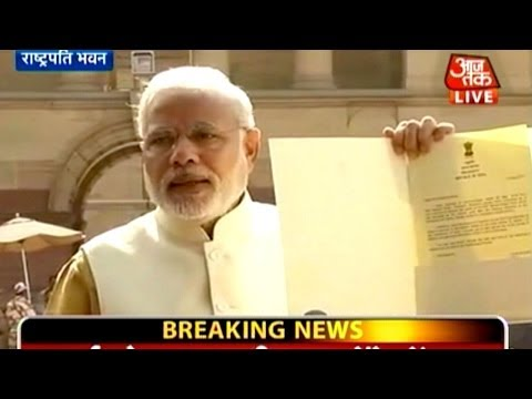 Narendra Modi addresses media after meeting Pranab Mukherjee