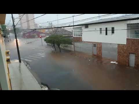 Vídeo Vídeo: Chuva inunda rua no Centro e alaga CDHU