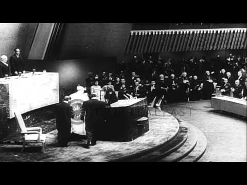 Pope Paul VI leads prayer at Saint Patrick's Cathedral and addresses the UN Gener...HD Stock Footage