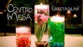 Decorativos jarrones caseros con velas y/o flores flotantes