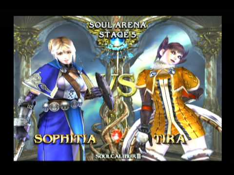 Soulcalibur III: Sophitia Arcade Playthrough + Weapon Exhibition [Playstation 2, 2005]