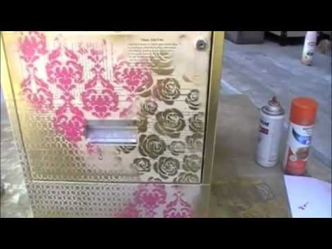 creative imaginations stencils vintage paper spray paint youtube. Black Bedroom Furniture Sets. Home Design Ideas