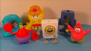 2011 SPONGEBOB SQUAREPANTS LEGENDS OF BIKINI BOTTOM SET OF 6 BURGER KING TOY'S VIDEO REVIEW