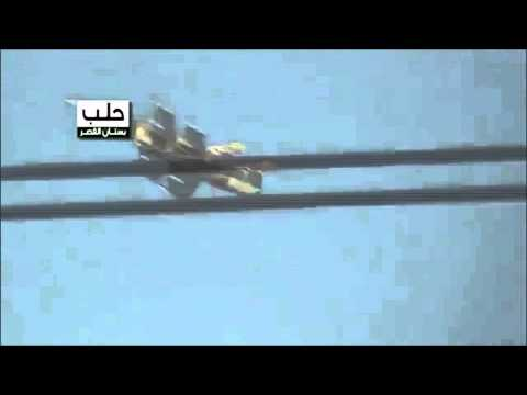 Aleppo, Syria: Moment a regime war plane drops a missile onto Bustan AlQasr neighborhood
