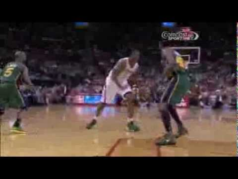 Terrence Jones crossover, spin and slam on Jeremy Evans