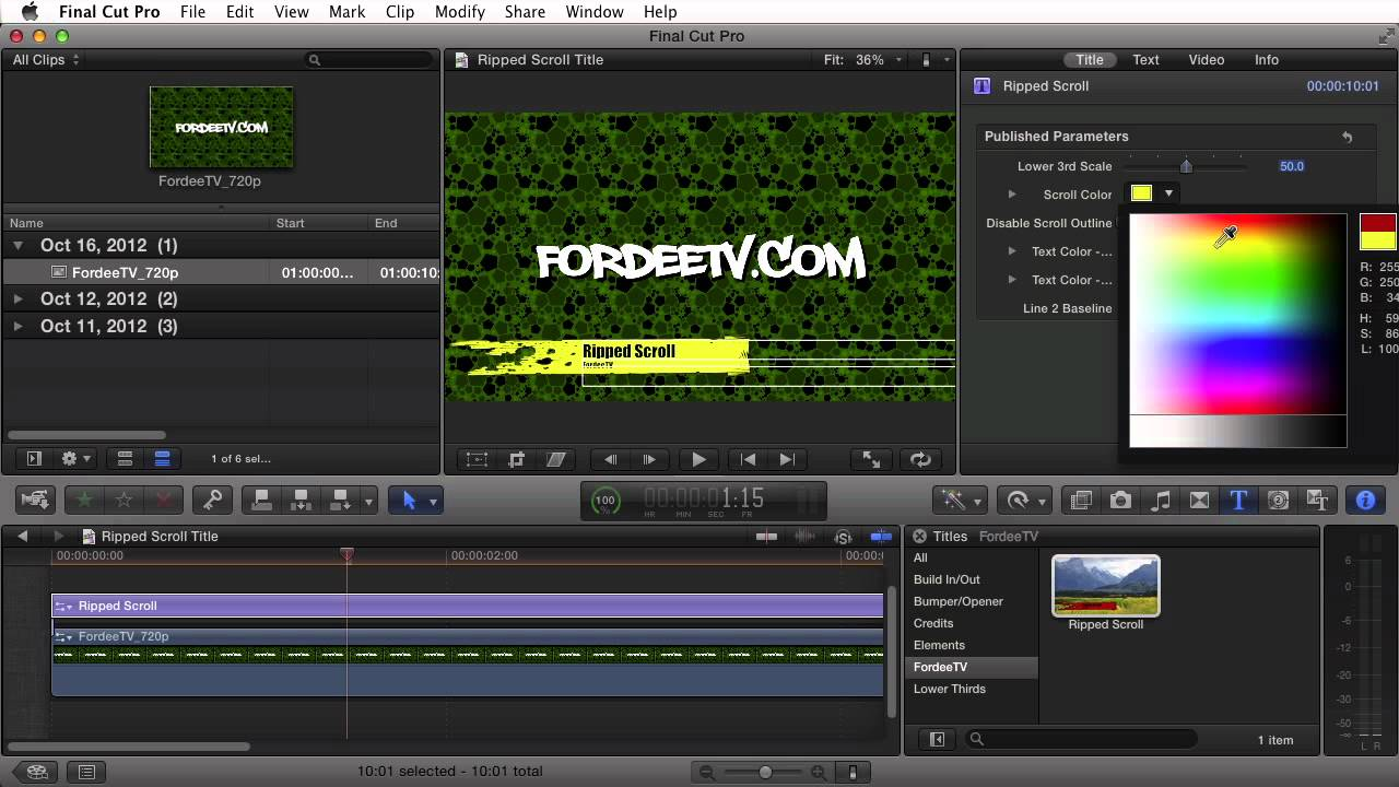 how to change text colour background final cut pro 7