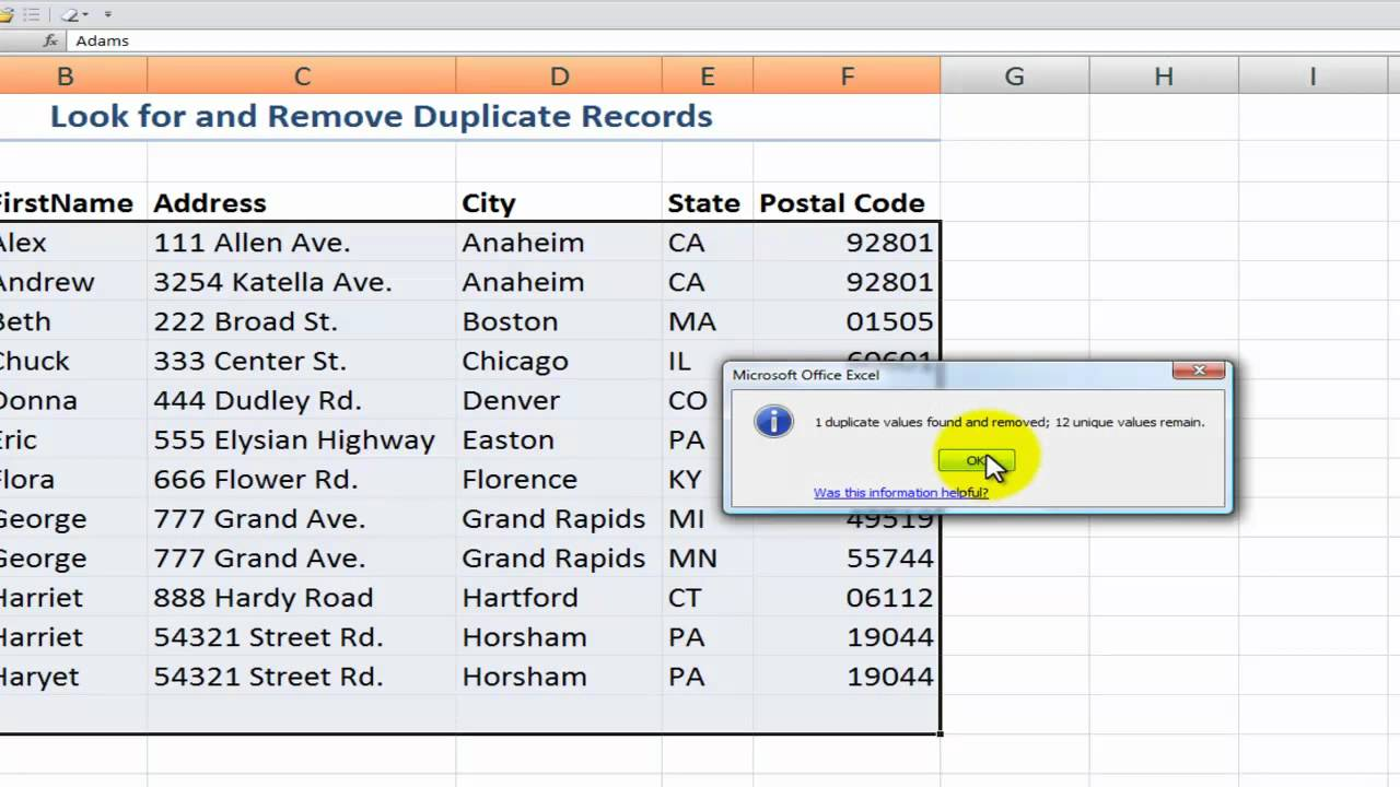How To Find Amp Remove Duplicate Records In Excel 2007 Youtube