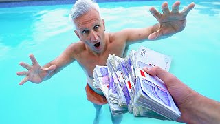 Kid throws Angry Dad's Money in Pool... (£10,000)
