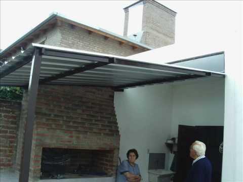 Construccon de un techo de chapa sobre el asador youtube for Como hacer un techo economico para casa