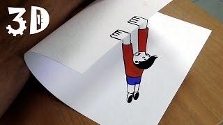 Простой 3d рисунок на бумаге - падающий человечек. Нарисовать сможет каждый!