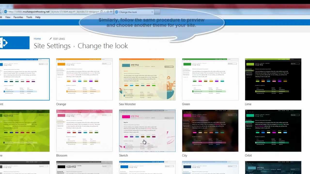 sharepoint 2013 tutorial how to change the site theme in sharepoint