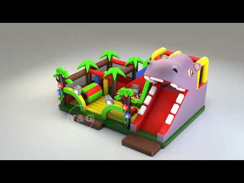 Welcome to Funny Hippo themed bounce house slide combo!