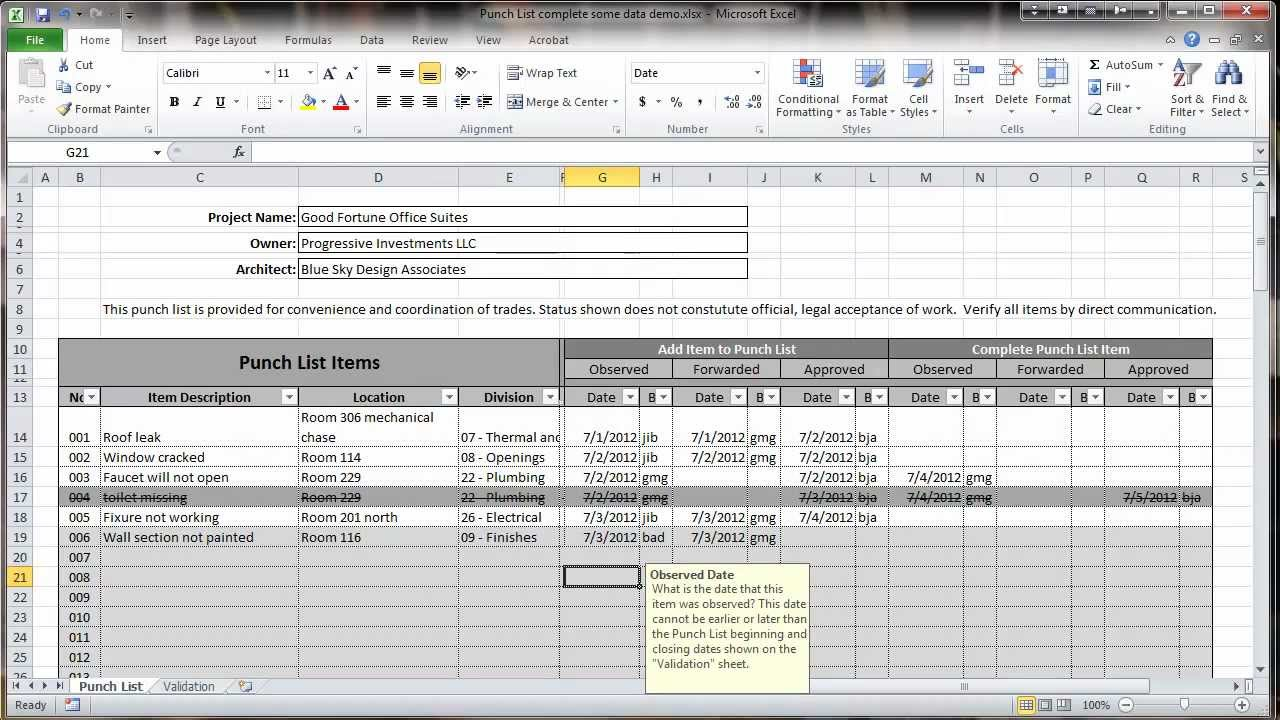 excel 2010 construction punch list overview youtube. Black Bedroom Furniture Sets. Home Design Ideas