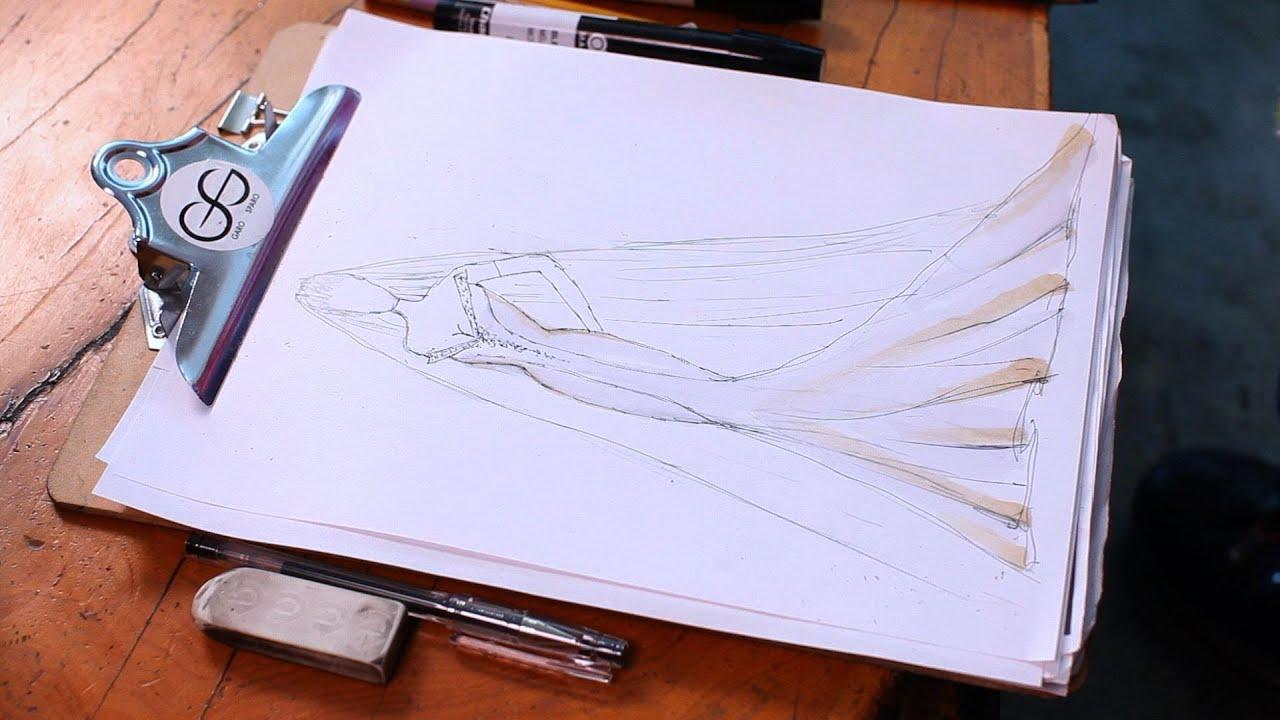 How To Draw A Wedding Dress Fashion Sketching Youtube