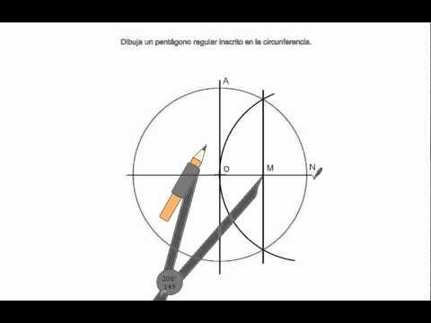 Pentágono regular inscrito en una circunferencia