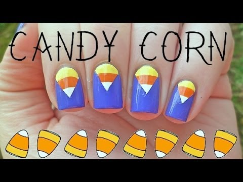 1MNT: Halloween Candy Corn Chevron Moon Nail Art