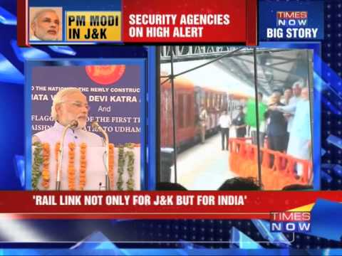 PM Narendra Modi flags off train in Katra, Jammu and Kashmir