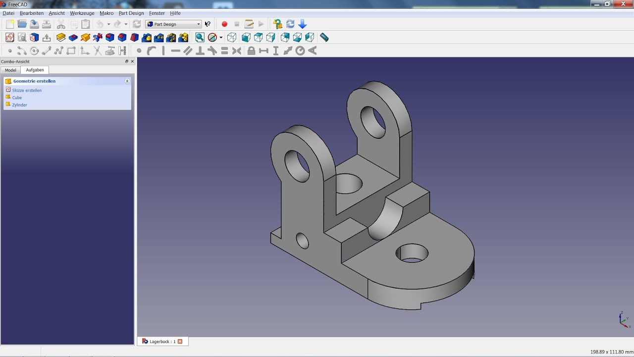 Freecad tutorial 04 lagerbock youtube 3d printer design software