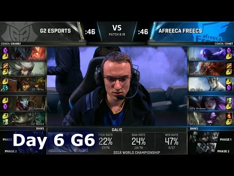 G2 vs AFS | Day 6 Group A Decider S8 LoL Worlds 2018 | G2 eSports vs Afreeca Freecs