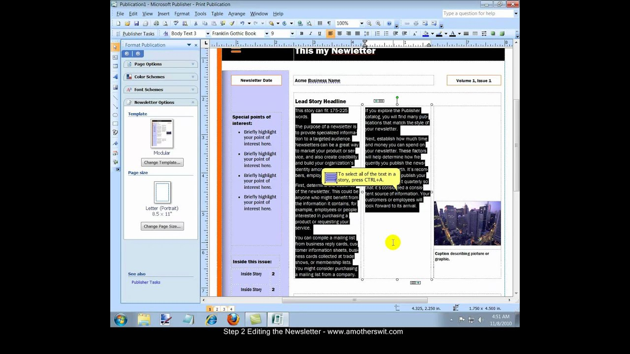 How to create a newsletter with microsoft office publisher 2007 video youtube for Microsoft publisher youtube