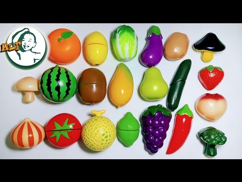 Learn names of fruits and vegetables by a simple matching game for kids 果物と野菜 