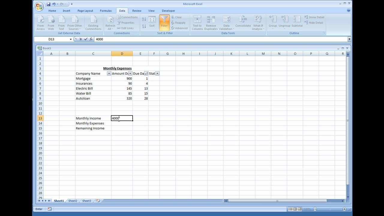simple expense sheet