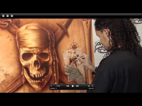 Airbrushing Monochromatic Pirate on Canvas w/ Cory Saint Clair