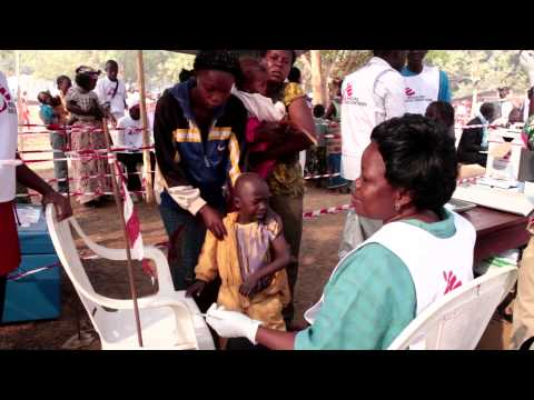 Measles vaccination in Bangui camps, Central African Republic.
