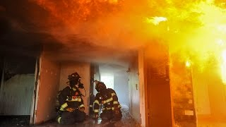 Inside a burning house