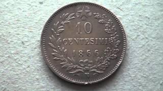 MONETE DA 1 2 5 10 CENTESIMI DEGLI ANNI 1860.