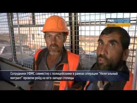 Нелегальные мигранты убегают от сотрудников УФМС