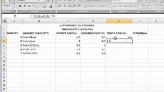 Primer Ejercicio En Excel Planilla De Notas