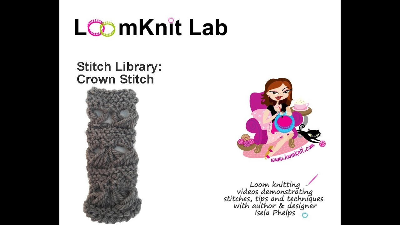 Knit And Purl Stitch On A Loom : Loom Knit: Stitch Library-Crown Stitch Part 2 - YouTube