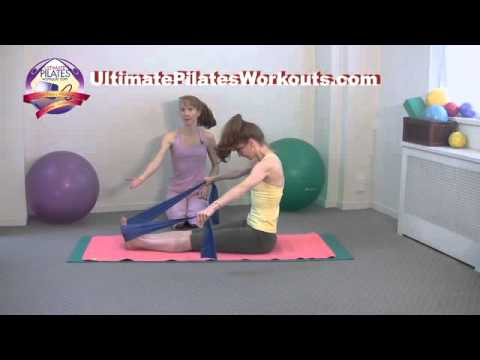 Pilates Workout Exercise: Back Rowing with the Exercise Band