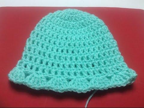 Móc mũ len cho bé 0-6 tháng  How to crochet a retro hat for baby 0-6 months