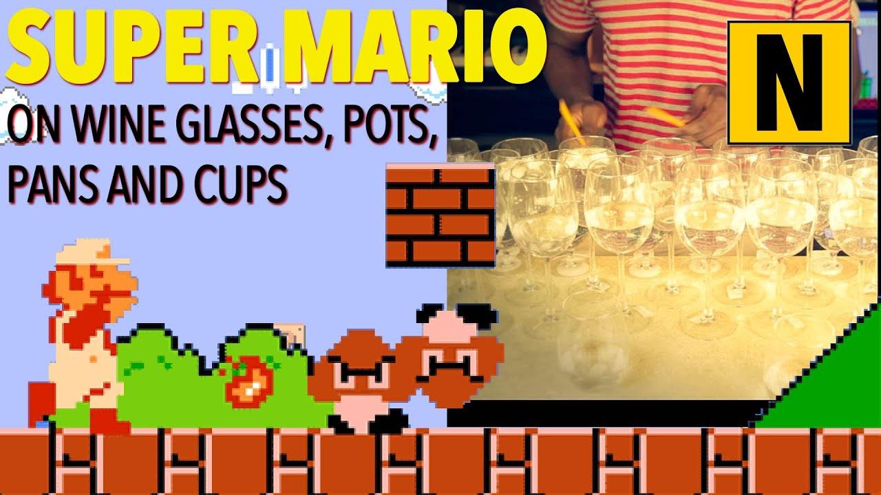 Le Theme de Super Mario Bross avec des verres à vin