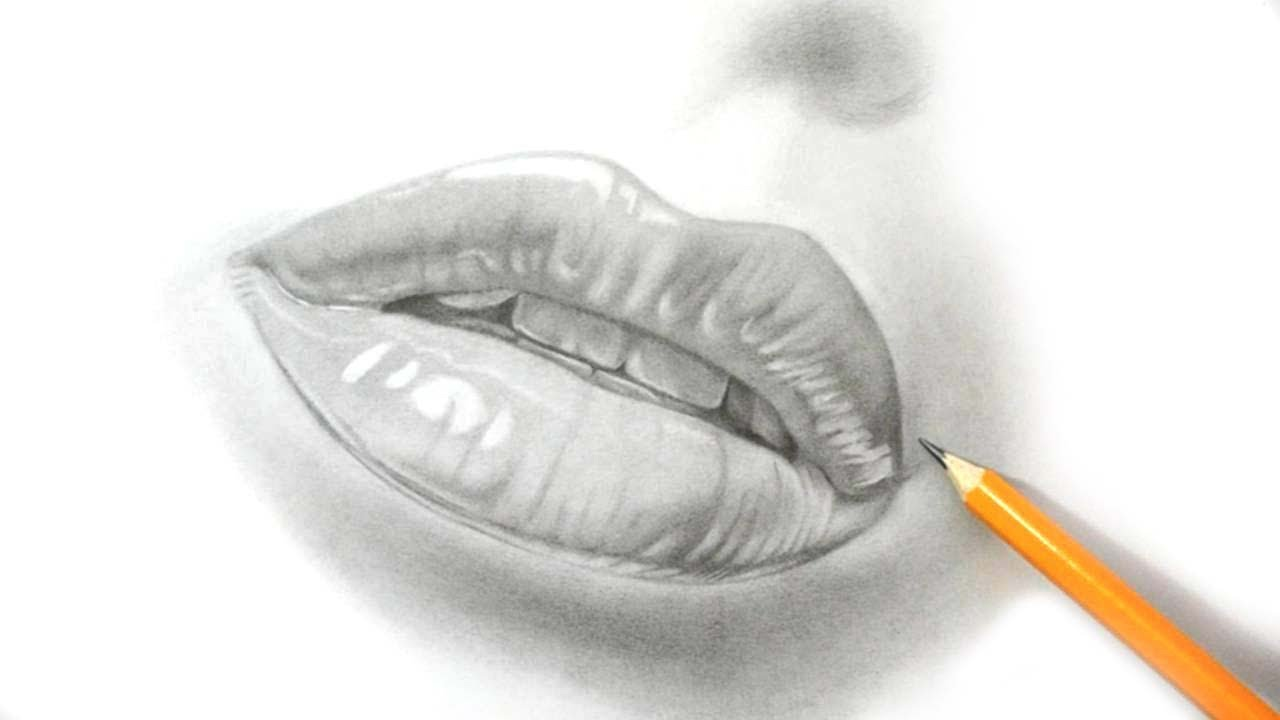 How I Draw Lips - Realistic Pencil Drawing - YouTube