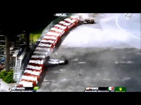 Accidente Felipe Massa y Sergio Perez F1 2014 Montreal - Part 1