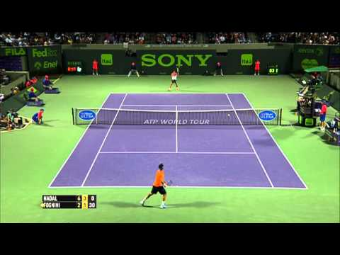 Rafael Nadal Hits Hot Shot Against Fognini Miami 2014