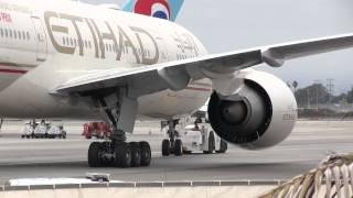 Etihad Airways Boeing 777-200LR Departing LAX Gate, Bound