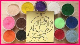 Đồ chơi trẻ em TÔ MÀU TRANH CÁT HÌNH MÈO ĐÔRÊMON bay - Colored Sand Painting (Chim Xinh)