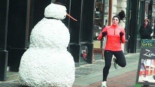 Funny Scary Snowman Prank Boston
