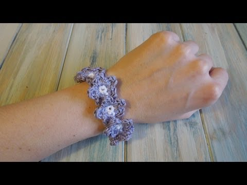 (crochet) How To - Crochet a Flower Bracelet - Yarn Scrap Friday