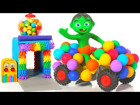 Kids Driving A Funny Rainbow Car ❤ Cartoons For Kids
