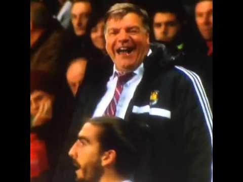 Sam Allardyce laughing at Chico's playacting